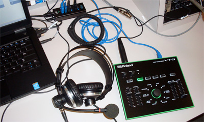 The Roland VT-3 Voice Transformer with AKG HSC-171 headset